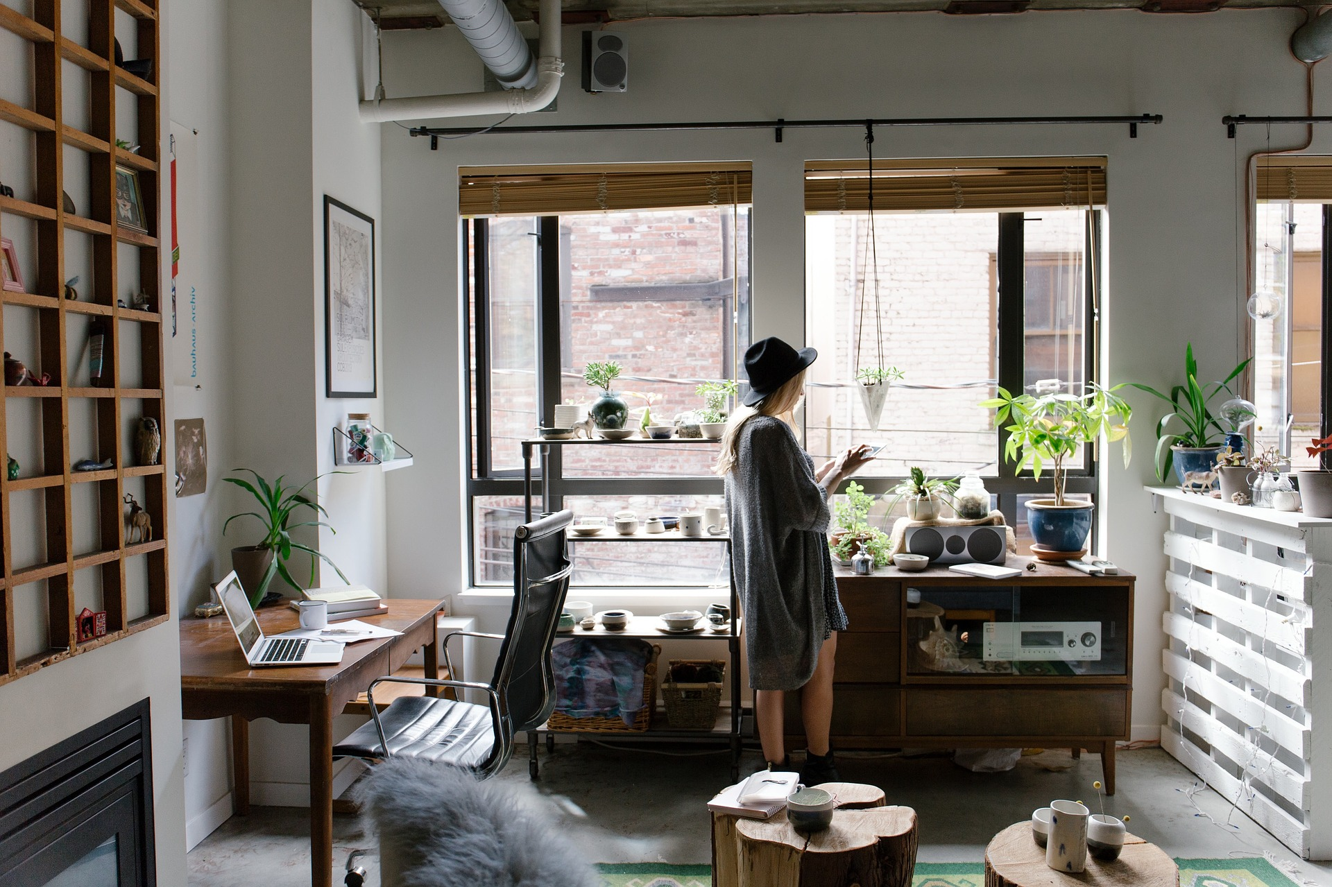 kvinde, hjem, bolig, interiør, design